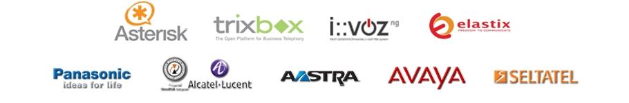 Logos of the leading manufacturers of PBXs.