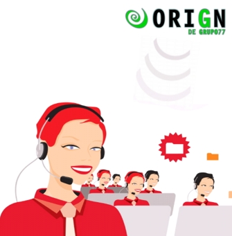 Some agents who are happy probably because they use OriGn, Grupo 77's CRM  software for call centers.